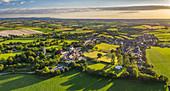 Aerial vista of the rural village of Morchard Bishop in summer, Devon, England, United Kingdom, Europe