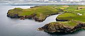 Aerial vista of Port Quin on the North Cornish coast, Cornwall, England, United Kingdom, Europe