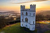 Sunrise at Haldon Belvedere (Lawrence Castle) in winter, Devon, England, United Kingdom, Europe