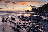 Sunset over Ayrmer Cove in the South Hams in autumn, South Devon, England, United Kingdom, Europe