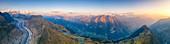 Panoramic of Aletsch Glacier, Bettmeralp and Riederalp at sunset, Bernese Alps, Valais canton, Switzerland, Europe