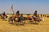 Peul woman with her children on their donkeys in the Sahel, Niger, Africa