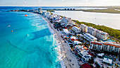 Aerial of the hotel zone with the turquoise waters of Cancun, Quintana Roo, Mexico, North America