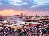 Jemaa el-Fnaa (Jemaa el-Fna) at sunset, square and market in the Old Medina, UNESCO World Heritage Site, Marrakesh, Marrakesh-Safi Region, Morocco, North Africa, Africa