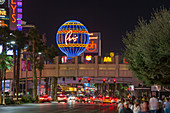 View along The Strip by night, illuminated Montgolfier balloon promoting the Paris Hotel and Casino, Las Vegas, Nevada, United States of America, North America