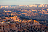 View to Sinking Ship Mesa from the Rim Trail at Bryce Point, sunset, Bryce Canyon National Park, Utah, United States of America, North America
