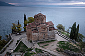 Blue hour at Saint John at Kaneo, an Orthodox church situated on the cliff overlooking Lake Ohrid, UNESCO World Heritage Site, Ohrid, North Macedonia, Europe