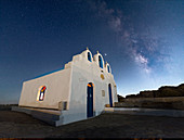 Milky Way above Agios Georgios on Paros Island, Cyclades, Greek Islands, Greece, Europe