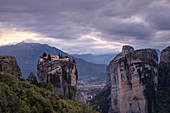 Aghia Triada Meteora Monastery on a cloudy evening, UNESCO World Heritage Site, Thessaly, Greece, Europe