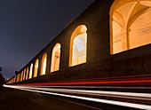 Car light trails and the porticoes of Bologna, Bologna, Emilia Romagna, Italy, Europe
