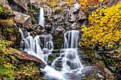 Long exposure at Dardagna waterfalls in autumn, Parco Regionale del Corno alle Scale, Emilia Romagna, Italy, Europe