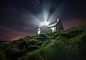 Night shot at Phare du Millier lighthouse, Finistere, Brittany, France, Europe