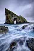 Drangarnir is the most famous natural arch of the whole Faroe Island, Faroe Islands, Denmark, Europe