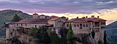 Panoramic on Varlaam Monastery at sunrise, Meteora, UNESCO World Heritage Site, Thessaly, Greece, Europe