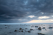 Long exposure of a storm approaching the Gili islands, Lombok, Indonesia, Southeast Asia, Asia