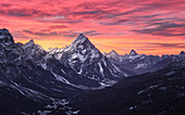 Pink sunrise on Antelao and Cortina d'Ampezzo valley in winter with snow, Dolomites, Trentino-Alto Adige, Italy, Europe