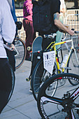 """""""You're fired"""" Sign on Bicycle during Celebration of President-Elect Joe Biden, Brooklyn, New York, USA"""