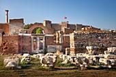 Turkey, Aegean Region, Izmir Province, Selcuk, Selçuk, Efes, Basilica of Saint John and Selçuk castle, listed as World Heritage by the UNESCO