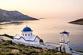 Greece, Fourni Korseon archipelago, Fourni island, Agia Triada orthodox church in Fourni bay