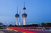 Kuwait, Persian Gulf, Kuwait City, The Kuwait towers, the symbol of the country, at Kuwait Bay