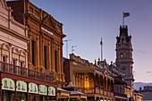 Australia, Victoria, VIC, Ballarat, Art Gallery of Ballarat tower and Lydiard Street, dusk.
