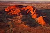 The Olgas, aerial view at dawn, Kata Tjuta National Park, Northern Territory.
