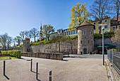 City wall Am Unteren Wall and St. Salvator Church in Schweinfurt, Bavaria, Germany