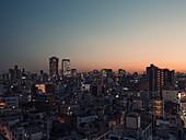 Cityscape buildings at dusk,Tokyo,Japan