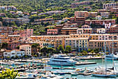 Porto Santo Stefano on Monte Argentario, harbour with boats moored.