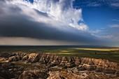 USA,South Dakota,Badlands National Park,Badlands with clearing storm clouds