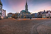 Poland,Silesia,Gliwice,Historic town square with town hall at dusk