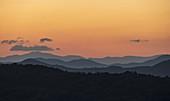 USA,Georgia,Orange sky above Blue Ridge Mountains at sunrise
