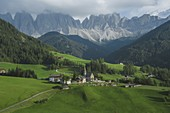 Italy,South Tyrol,Funes,Santa Magdalena,Landscape with village in valley
