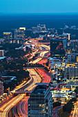 USA,Georgia,Atlanta,Downtown traffic at dusk