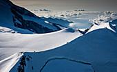 Switzerland,Monte Rosa,Climbers on mountain ridge at Monte Rosa Massif