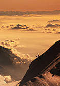Switzerland,Monte Rosa,Aerial view of Monte Rosa Massif at sunset