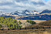USA,Idaho,Stanley,Ranch landscape with mountains and forests