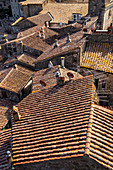 Above the roofs of Sorano, Province of Grosseto, Tuscany, Italy, Europe