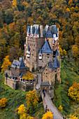 View of Eltz Castle in autumn, Rhineland-Palatinate, Germany, Europe