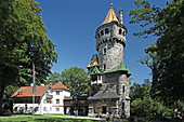 The mother tower in Herkomer Park on the banks of the Lech in Landsberg, Upper Bavaria, Bavaria, Germany