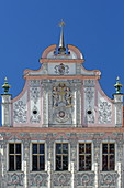 Main square with the facade of the town hall by Dominikus Zimmermann, Landsberg am Lech, Upper Bavaria, Bavaria, Germany