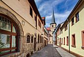 Schulgasse and St. Jakobus in Bad Kissingen, Bavaria, Germany