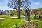 Boxberger Neumann monument in the rose garden in Bad Kissingen, Bavaria, Germany