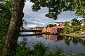 Old warehouses along the Nidelva ,, Trondheim, Norway