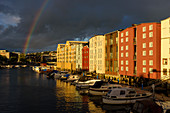 Rosenborgbassenget district with new houses and marina, Trondheim, Norway