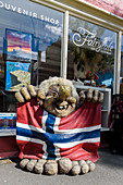 Souvenier shop with troll figure and flag, Trondheim, Norway