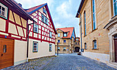 Kirchgasse at the Saint John the Baptist and Evangelist Church in Bad Rodach, Bavaria, Germany