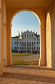 """The splendid baroque facade of Villa Manin from the 1600s, in Passariano di Codroipo in the province of Udine. Friuli Region. The """"Treaty of Campoformido"""" with Napoleon Bonaparte was signed in the villa."""