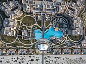 Aerial of Saadiyat Rotana Resort & Villas with beach, Saadiyat Island, Abu Dhabi, United Arab Emirates, Middle East