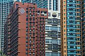Colorful skyscrapers in Kowloon, Hong Kong, Hong Kong, China, Asia